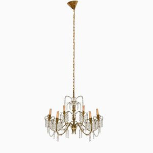 Mid-Century Italian Brass and Crystal Waterfall Chandelier, 1950s