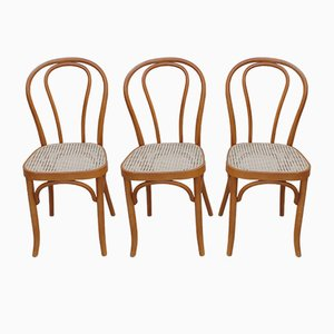 Chaises de Salon Vintage en Bois Courbé et Rotin, Set de 3