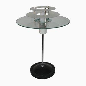 Lámpara de mesa vintage de metal y vidrio, años 70