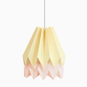 Paralume Origami rosa e giallo di Orikomi