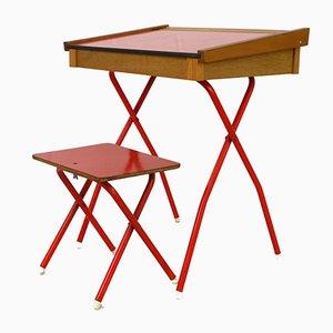 Scrivania da bambino vintage rossa con sgabello, anni '70, set di 2