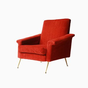 Italian Armchair with Orange Upholstery, 1950s