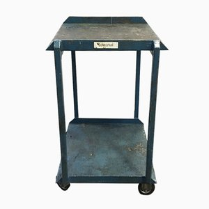 Mid-Century Industrial Blue Iron Trolley, 1960s