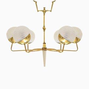 Lámpara de araña italiana Mid-Century de seis brazos