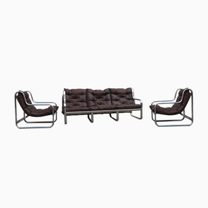 Leather and Curved Chromed Metal Living Room Set, 1970s