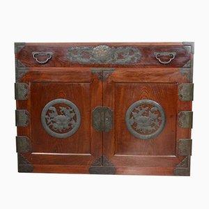 Vintage Korean Camphor Wood Cabinet Sideboard