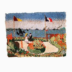 Tappeto vintage fatto a mano con riproduzione di Terrasse à Sainte Adresse, Stati Uniti, anni '80