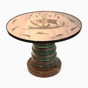 Tavolo con piedistallo in legno e ripiano in vetro fumé di Fontana Arte, anni '30