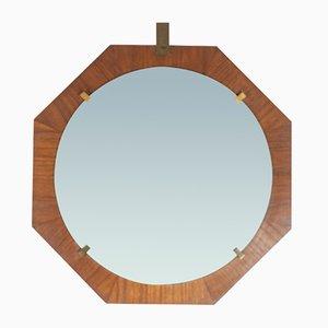 Specchio a muro in ottone e teak, Italia, anni '60
