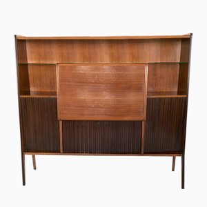 Italian Rosewood, Crystal, and Mirror Bar Cabinet, 1950s