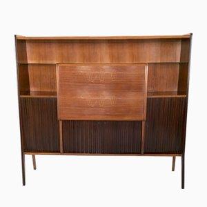 Mueble bar italiano de palisandro, cristal y espejo, años 50