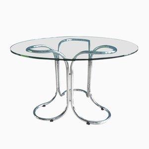 Tavolo vintage in vetro con base in metallo cromato
