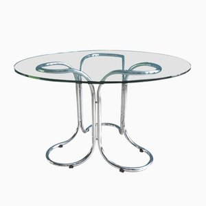 Vintage Glass Dining Table with Chromed Metal Base