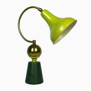 Lámpara de mesa francesa en verde manzana, años 50