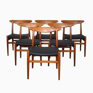 Dänische Mid-Century W2 Stühle von Hans J. Wegner für Madsens, 1950er, 6er Set