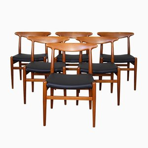 Mid-Century Danish W2 Chairs by Hans J. Wegner for Madsens, 1950s, Set of 6