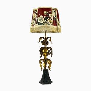Lampada da tavolo vintage Hollywood Regency dorata, Italia