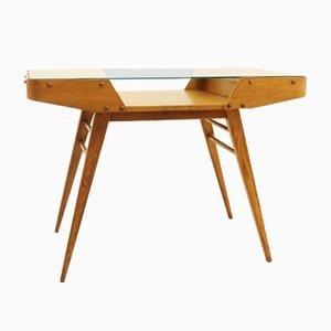 Mesa de centro checoslovaca vintage de roble con tablero de vidrio, años 60