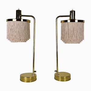Vintage Model B-140 Silk Fringe Brass Table Lamps from Hans-Agne Jakobsson, Set of 2