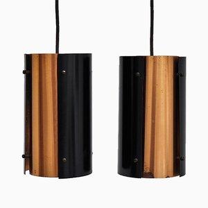 Lampes à Suspension en Métal Noir et Cuivre Massif, 1960s, Set de 2