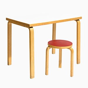 Vintage Desk and Stool by Alvar Aalto for Artek, 1970s