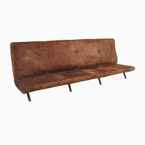 Mid-Century Lined Velvet 4-Seater Sofa by Marco Zanuso for Arflex, 1954