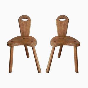 Französische Eichenholz Stühle, 2er Set