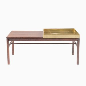 Scandinavian Casino Flower Table in Rosewood and Brass by Engström & Myrstrand, 1960s