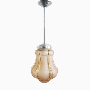 Art Deco Pendant Light with 6-Sided Glass Globe