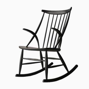 Sedia a dondolo modello IW3 di Illum Wikkelsø per Niels Nilersen, anni '50