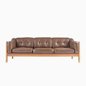 Mid-Century Swedish Monte Carlo Sofa in Oak and Leather by Yngvar Stockum for Futura Möbler, 1965