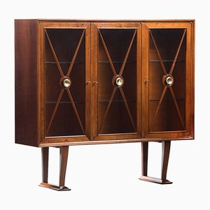Vintage Walnut Display Cabinet with Brass Door Handles