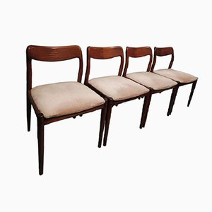 Danish Rosewood Inlaid Dining Chairs, 1960s, Set of 4
