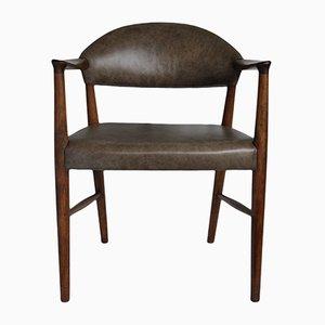 Leather Armchair by Kurt Olsen for Slagelse Møbelværk, 1950s