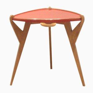 Table d'Appoint Mid-Century en Chêne & Bois Laqué Rouge, France
