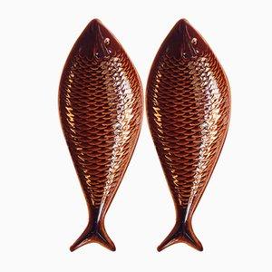 Vassoi a forma di pesce in ceramica di Stig Lindberg per Gustavsberg, Svezia, anni '60, set di 2