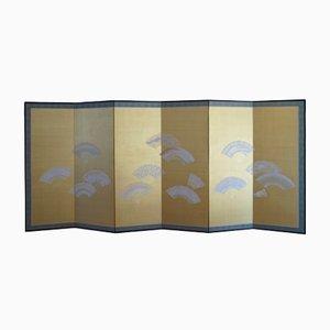 Biombo plegable Meiji Showa Period japonés con seis paneles