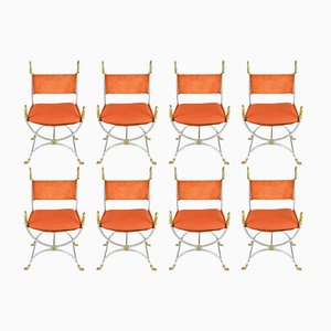 Chaises en Acier, Laiton et Daim Orange de Maison Jansen, 1960s, Set de 8