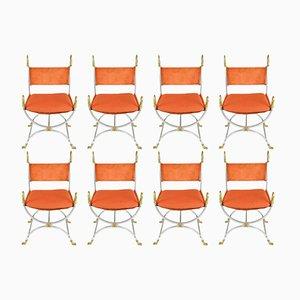 Stühle aus Stahl, Messing und Orangefarbenem Wildleder von Maison Jansen, 1960er, 8er Set