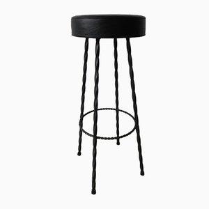 Sgabello da bar vintage con gambe a spirale in acciaio