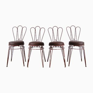 Vintage Metal Chairs with Leatherette Upholstery, Set of 4