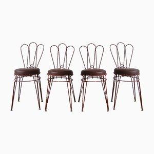 Vintage Metallstühle mit gepolsterten Kunstledersitzen, 4er Set