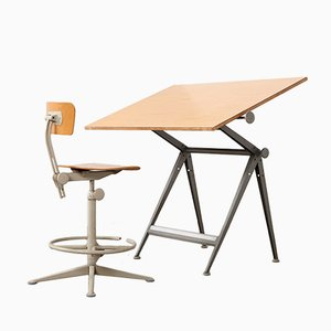 Vintage Zeichentisch & Stuhl von Wim Rietveld & Friso Kramer für Ahrend De Cirkel