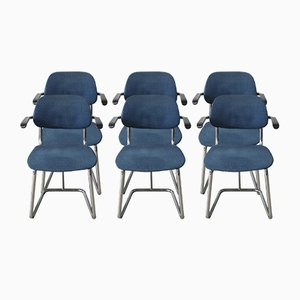 Jami Tubular Chairs in Blue Fabric by Toine van den Heuvel for Markant, 1960s, Set of 6