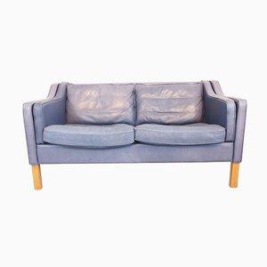 Sofá vintage de cuero anilina azul de Georg Thams
