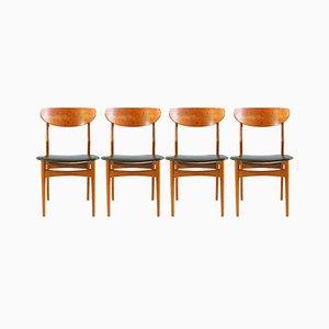 Sillas de comedor danesas de teca con escai, años 60. Juego de 8