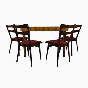 Tavolo da pranzo e sei sedie in teak, anni '60