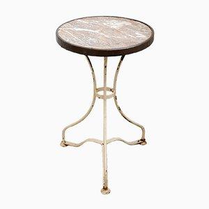 Tavolo da bistro antico con ripiano in marmo, fine XIX secolo