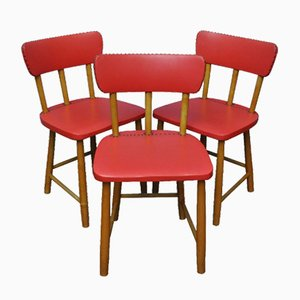 Red Swedish Chairs, 1950s, Set of 3