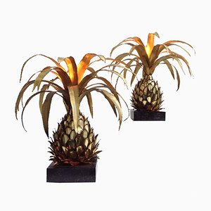 Mid-Century Parisian Pineapple Side Table Lamps by Maison Jansen, 1970s, Set of 2
